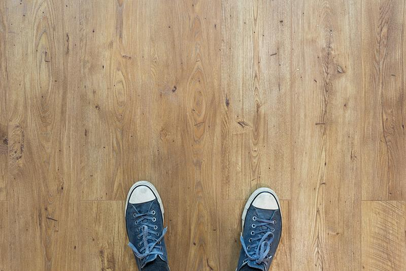 Rubber tipped shoes on wood floor