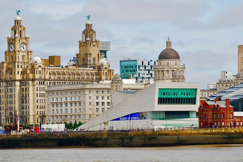 The Liver building and pier head, Liverpool, UK