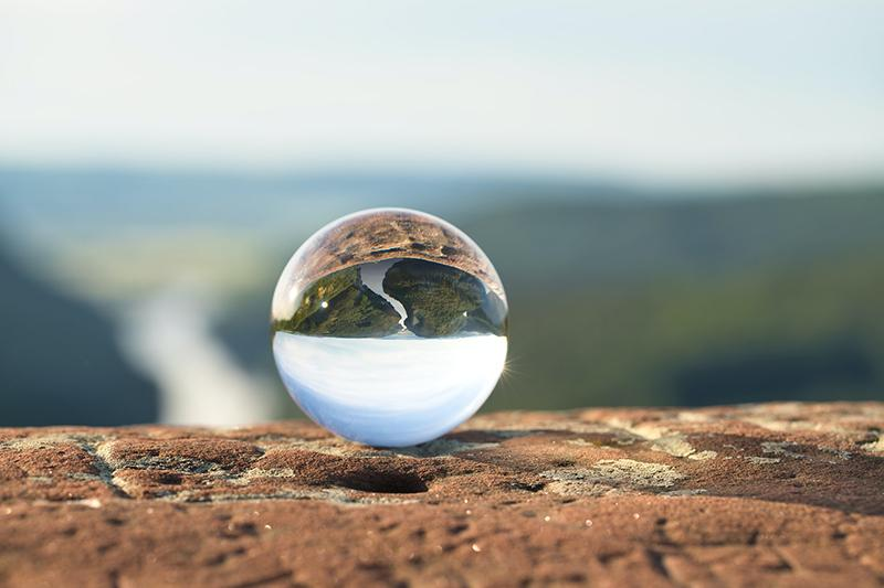 Lensball on a stone wall at the Saarschleife in Germany