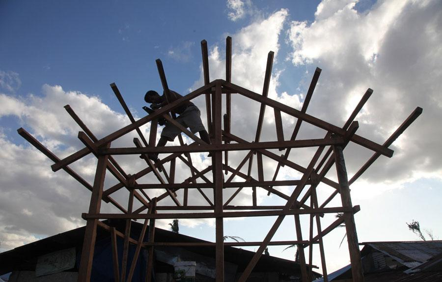 Shelters being built on Leyte, an island in the Philippines, following Typhoon Haiyan in 2013