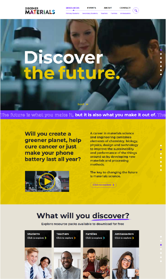 A screenshot of the homepage of the upcoming website